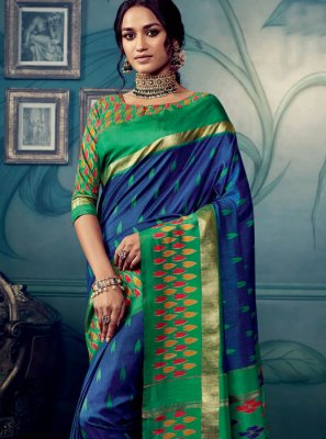 Designer Traditional Saree Weaving Cotton Silk in Blue