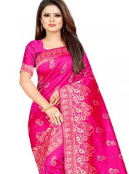 Designer Traditional Saree Weaving Cotton Silk in Hot Pink