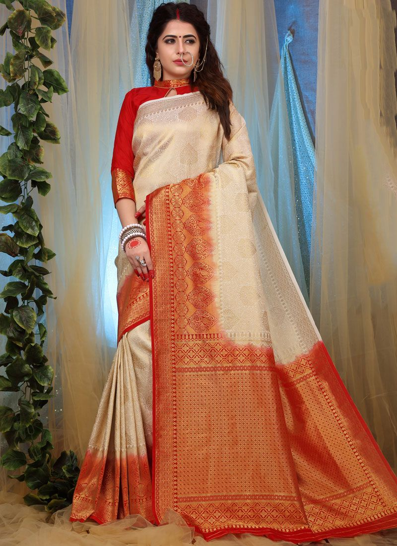 Designer Traditional Saree Weaving Fancy Fabric in White