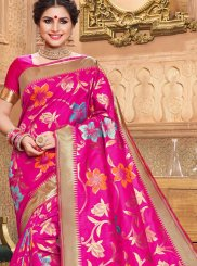 Designer Traditional Saree Weaving Jacquard Silk in Hot Pink