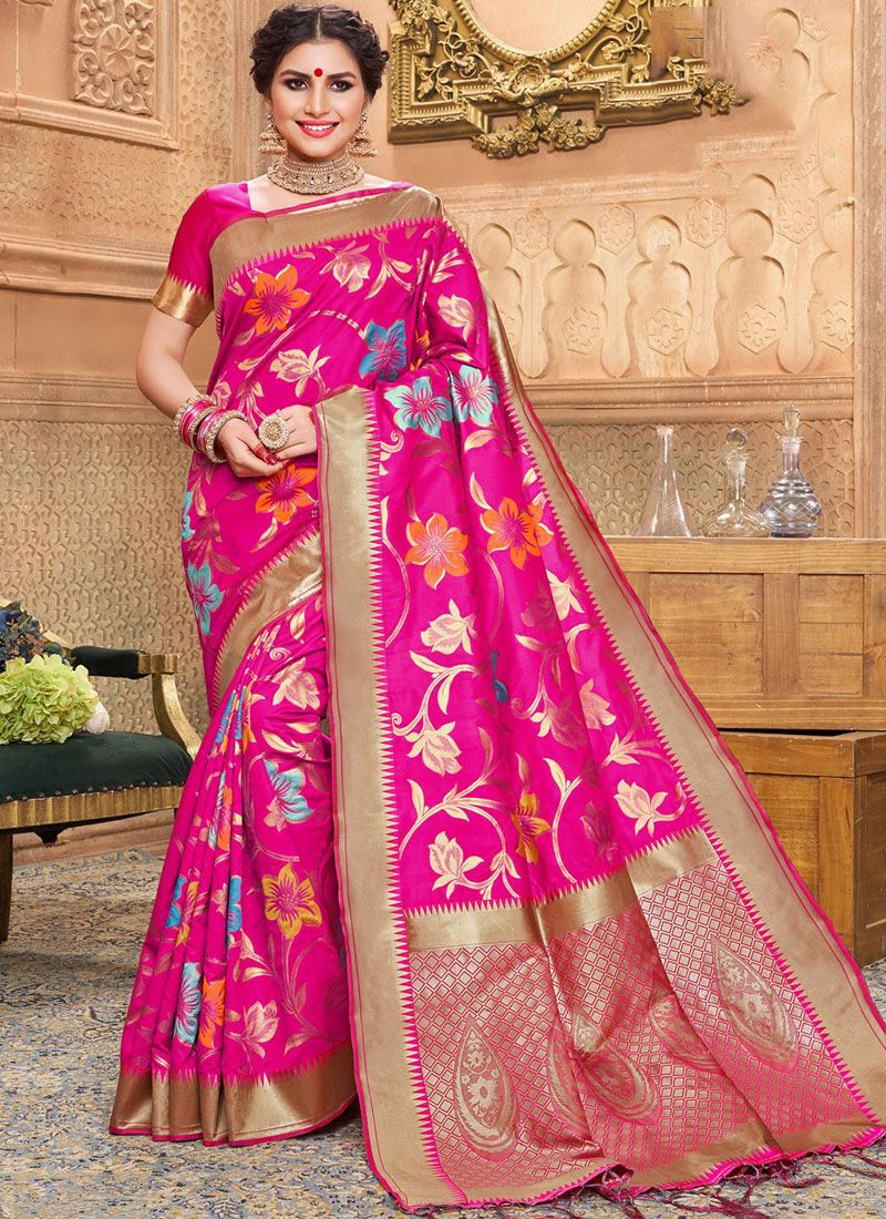 Designer Traditional Saree Weaving Jacquard Silk in Hot Pink