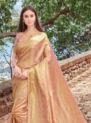 Designer Traditional Saree Weaving Jacquard Silk in Peach