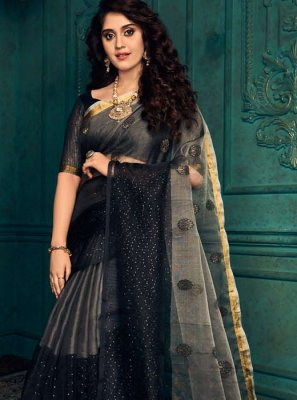 Designer Traditional Saree Weaving Silk in Black