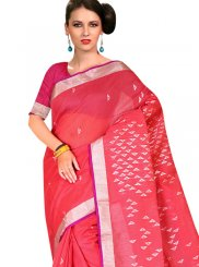 Designer Traditional Saree Weaving Tussar Silk in Hot Pink