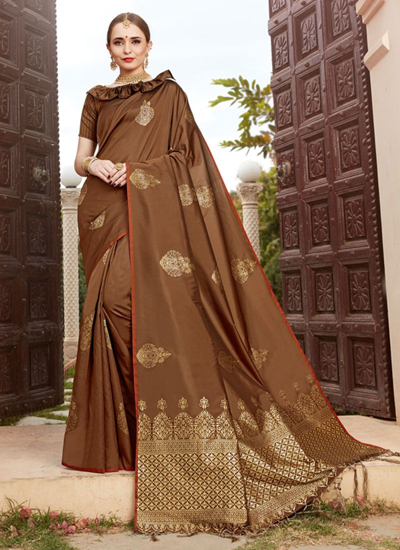 Designer Traditional Saree Woven Art Silk in Brown