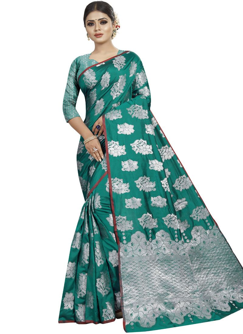 Designer Traditional Saree Woven Art Silk in Green