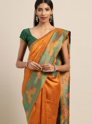 Designer Traditional Saree Woven Art Silk in Orange