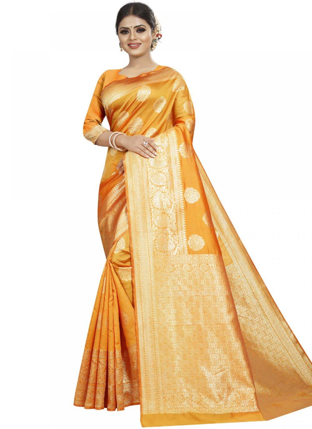 Designer Traditional Saree Woven Art Silk in Yellow