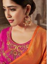 Designer Traditional Saree Zari Jacquard Silk in Orange