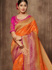 Designer Traditional Saree Zari Jacquard Silk in Orange