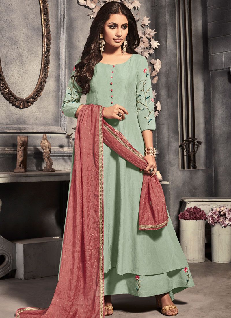 Desinger Anarkali Salwar Suit Embroidered Silk in Sea Green