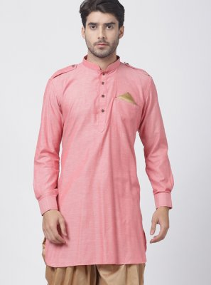Dhoti Kurta Plain Blended Cotton in Pink