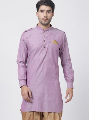 Dhoti Kurta Plain Blended Cotton in Purple