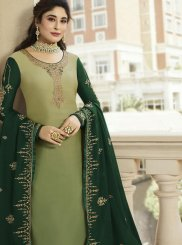 Diamond Georgette Satin Designer Lehenga Choli in Green