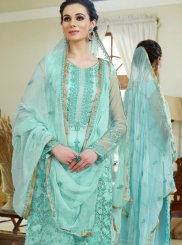 Diamond Organza Designer Palazzo Salwar Suit in Turquoise