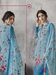 Digital Print Aqua Blue Pant Style Suit