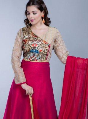 Digital Print Art Silk Desinger Anarkali Salwar Suit in Pink