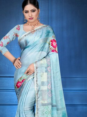 Digital Print Blue Georgette Satin Printed Saree
