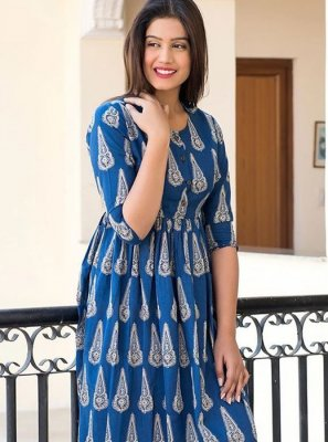 Digital Print Blue Muslin Trendy Gown