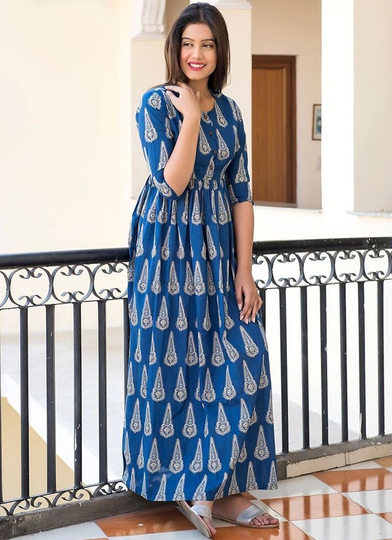 Digital Print Blue Muslin Trendy Gown