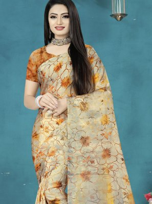 Digital Print Brown Satin Silk Traditional Saree