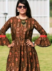 Digital Print Brown Silk Readymade Gown