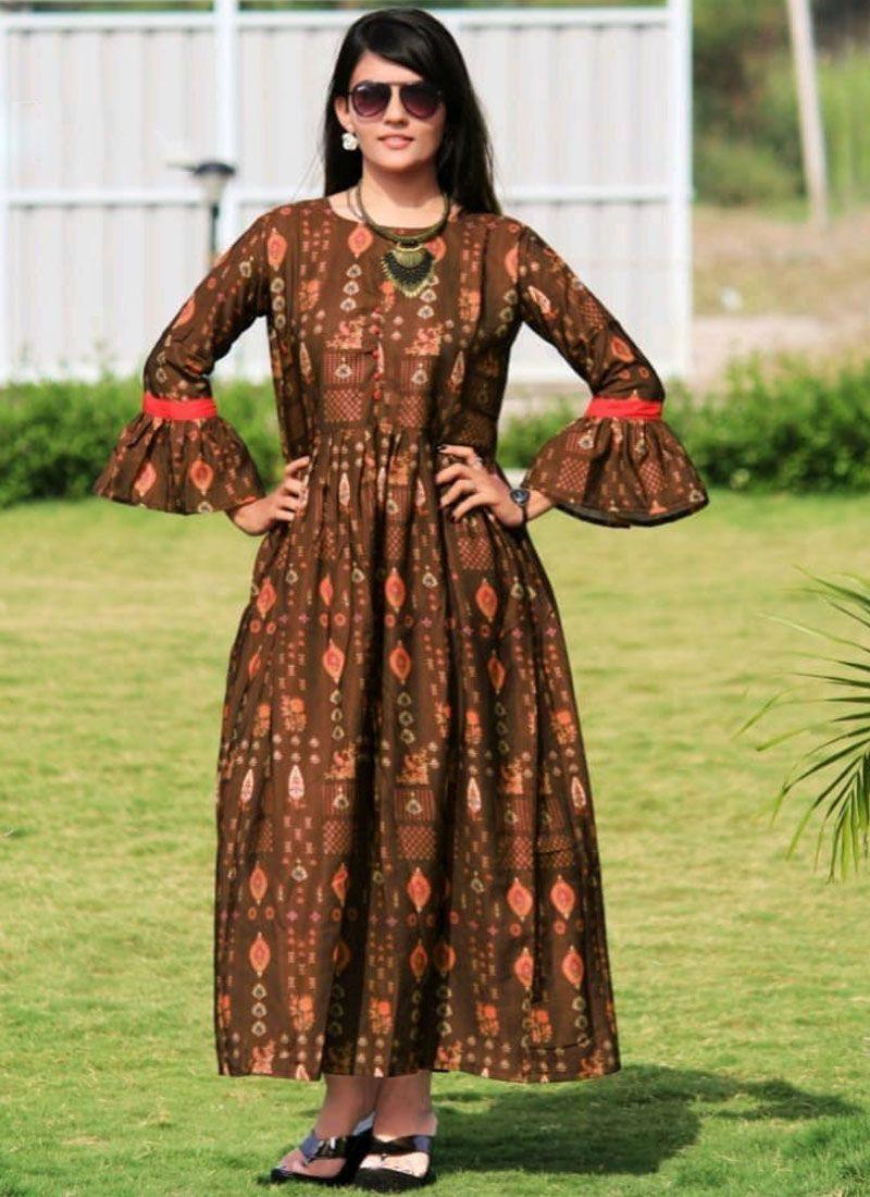 Digital Print Brown Silk Readymade Gown