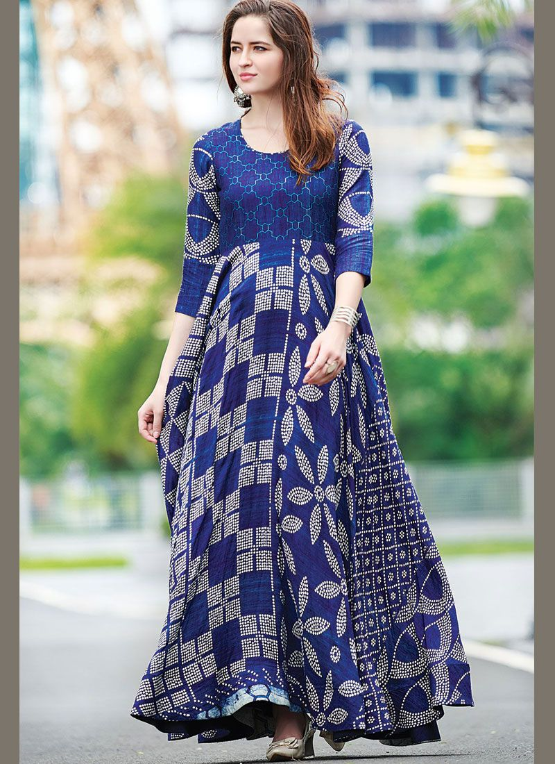 Digital Print Cotton   Designer Gown