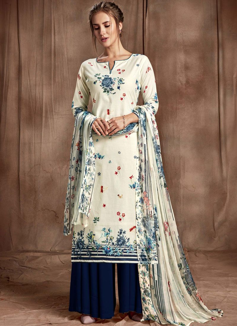 Digital Print Cotton Navy Blue and Off White Palazzo Designer Salwar Kameez