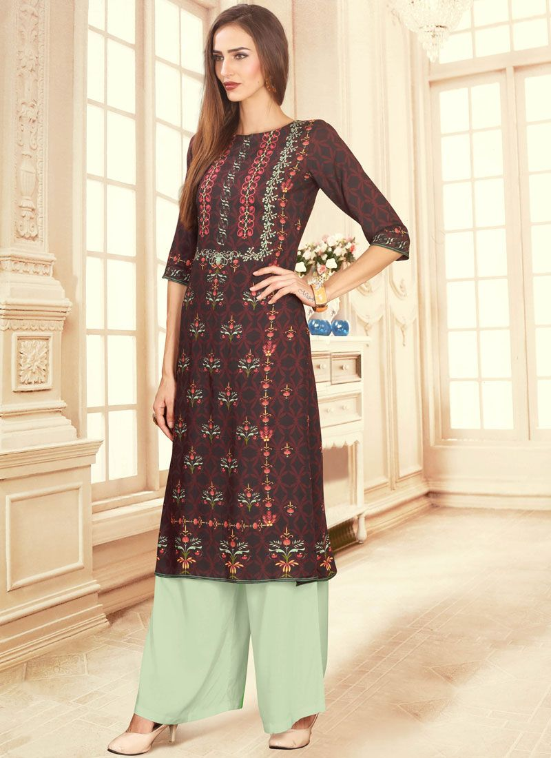 Digital Print Cotton Palazzo Designer Suit in Maroon
