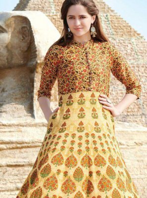 Digital Print Fancy Fabric Multi Colour Party Wear Kurti