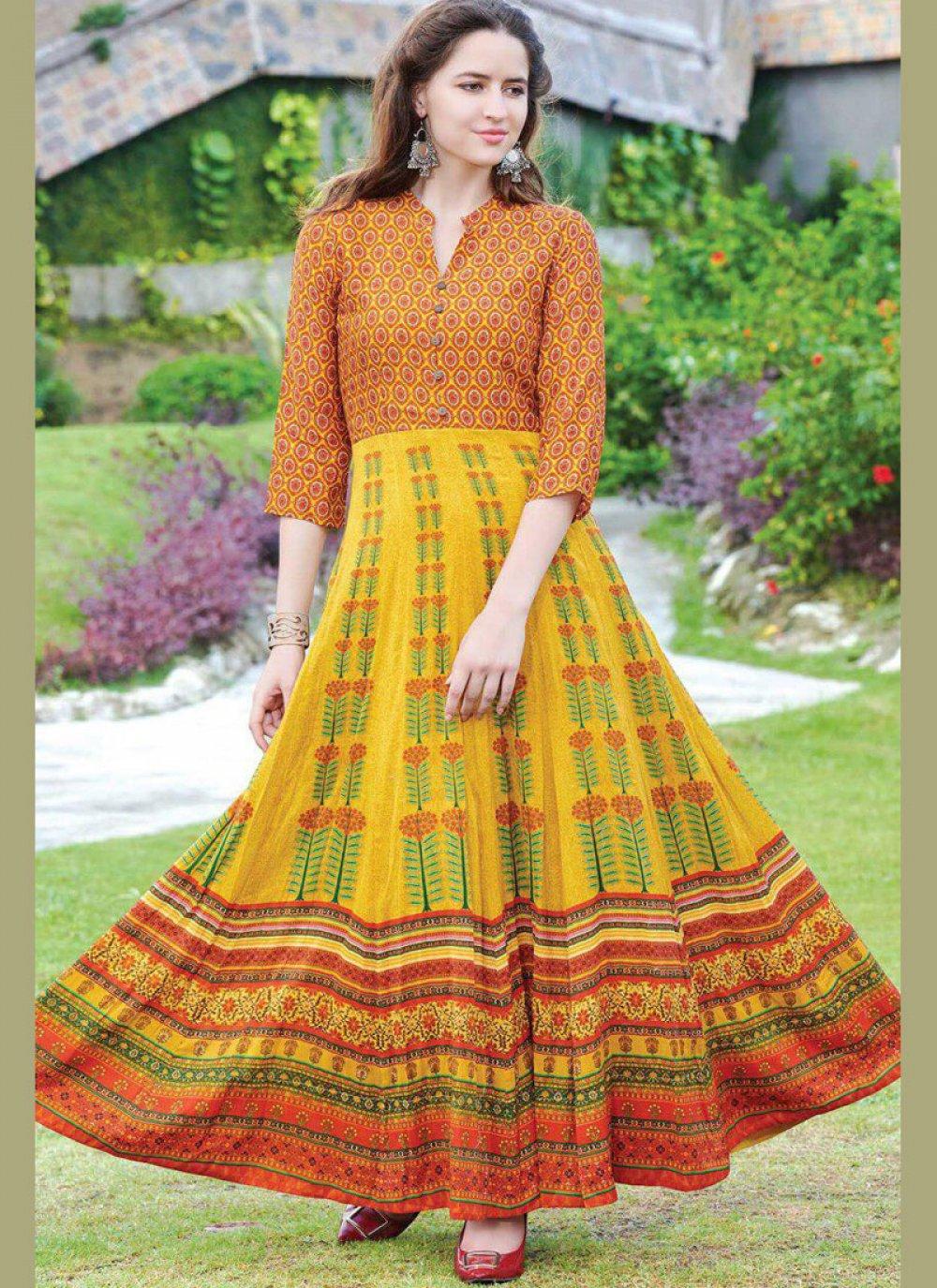Digital Print Fancy Fabric Party Wear Kurti