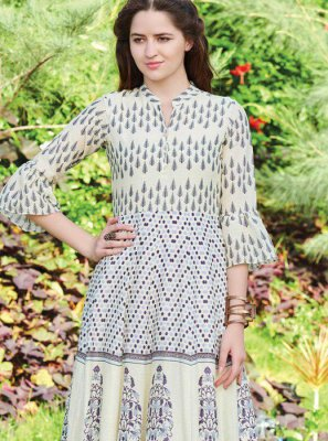 Digital Print Fancy Fabric Party Wear Kurti