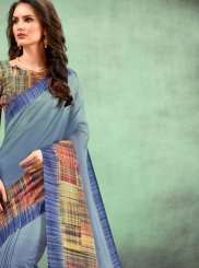 Digital Print Faux Chiffon Casual Saree