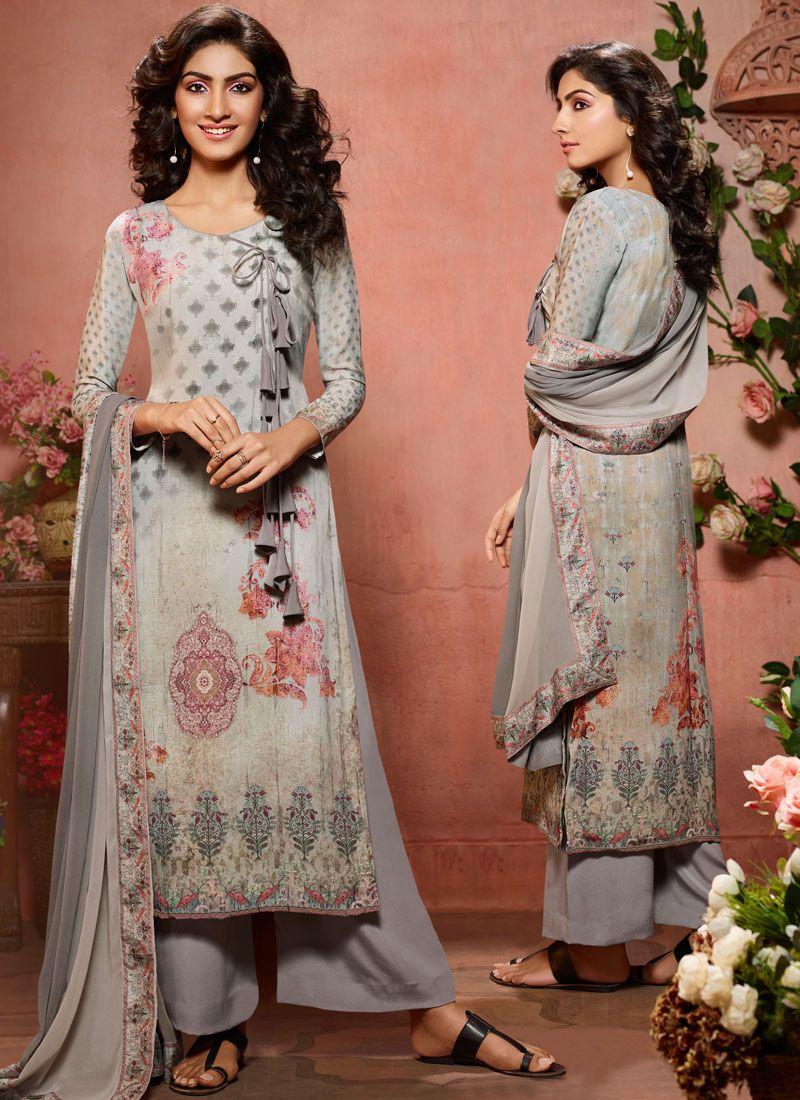 Digital Print Faux Crepe Designer Palazzo Salwar Suit