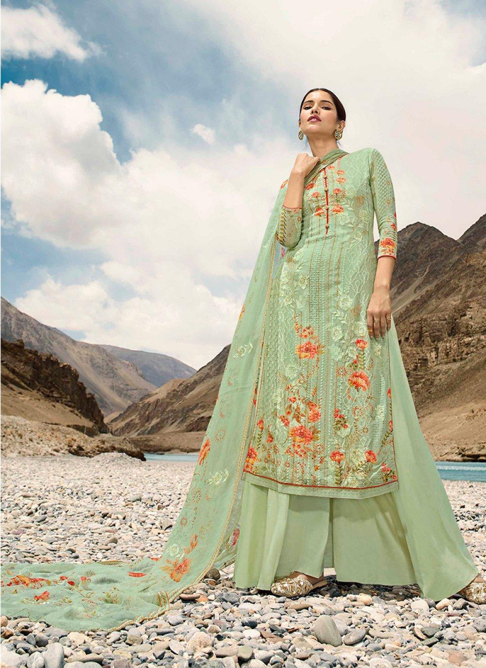 Digital Print Faux Georgette Green Designer Pakistani Suit