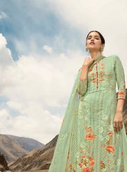 Digital Print Faux Georgette Green Designer Pakistani Suit