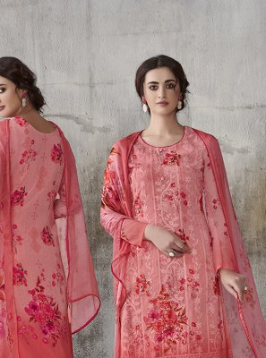Digital Print Faux Georgette Pant Style Suit in Hot Pink