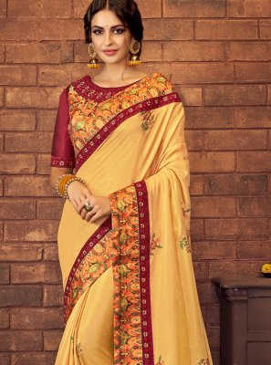 Digital Print Faux Georgette Yellow Silk Saree