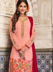 Digital Print Georgette Churidar Salwar Kameez in Pink