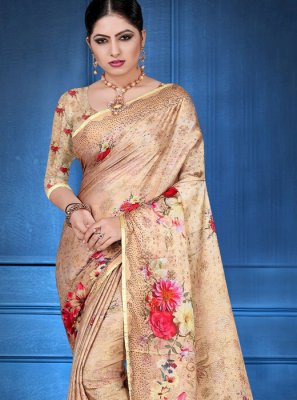 Digital Print Georgette Satin Printed Saree in Multi Colour