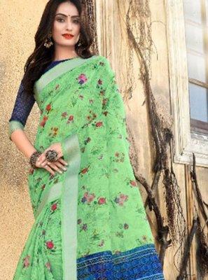 Digital Print Green Classic Designer Saree