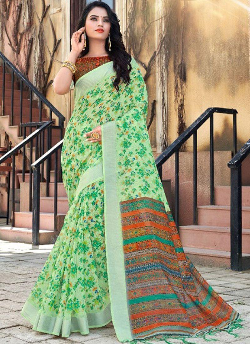 Digital Print Green Designer Traditional Saree