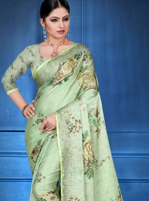 Digital Print Green Printed Saree