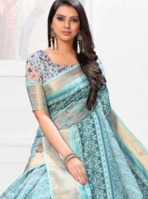 Digital Print Linen Casual Saree