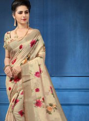 Digital Print Linen Multi Colour Printed Saree
