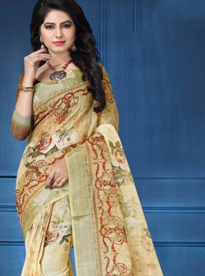 Digital Print Linen Printed Saree