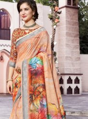Digital Print Linen Trendy Saree in Peach