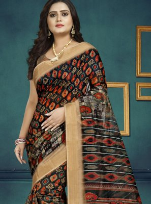 Digital Print Multi Colour Chanderi Traditional Saree