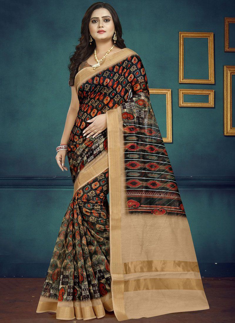 Digital Print Multi Colour Chanderi Traditional Saree